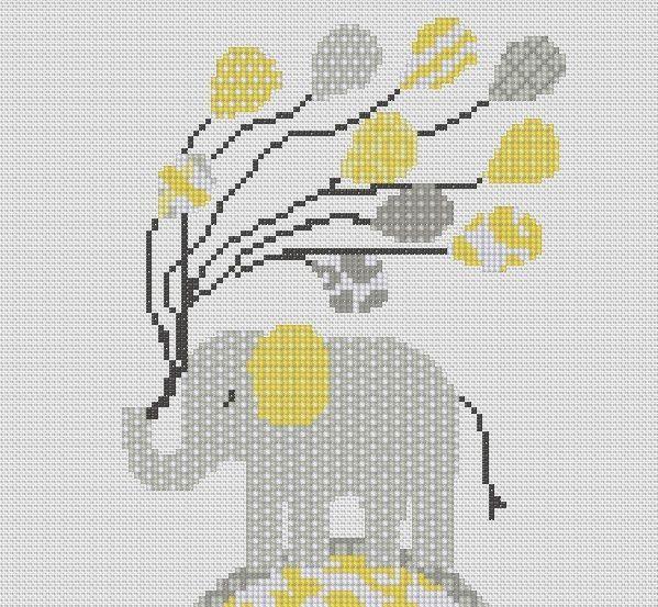 Counted Cross Stitch Pattern or Kit, Elephant, Nursery art, Birth sampler | eBay