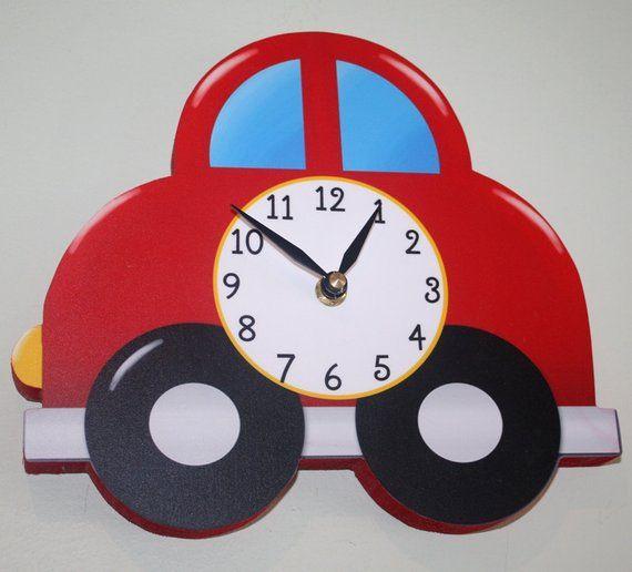 Vroom Vroom kleines rotes Auto aus Holz Wanduhr für Jungen Schlafzimmer Baby Kinderzimmer WC0044