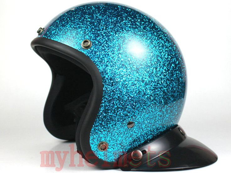 Metal Flake Blue Retro Vintage Open Face Motorcycle Scooter Helmet #HTH