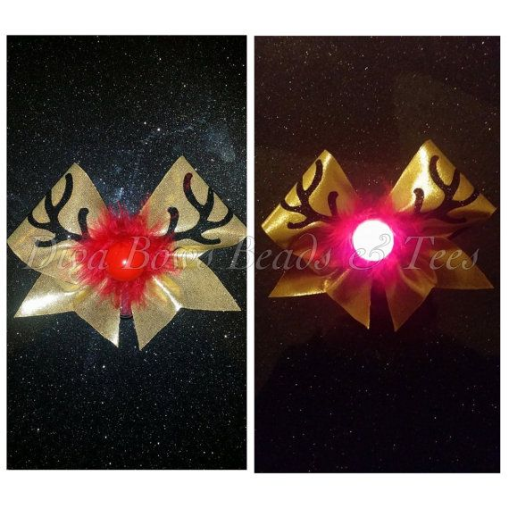 Rudolph bow light up cheer bow by DivaBowsBeadsAndTees on Etsy