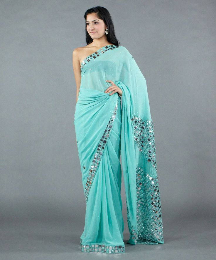 Georgette saree with mirror work by satya paul buy 598 for Mirror work saree