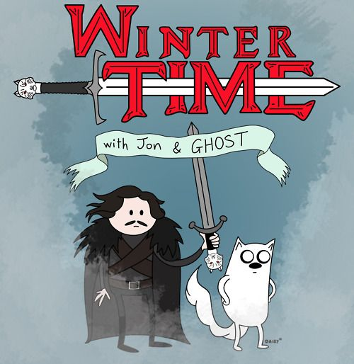 Winter Time with Jon and Ghost! Adventure Time meets Game of Thrones and all is well.  (By Daisy Edwards http://daisymay.tumblr.com/)