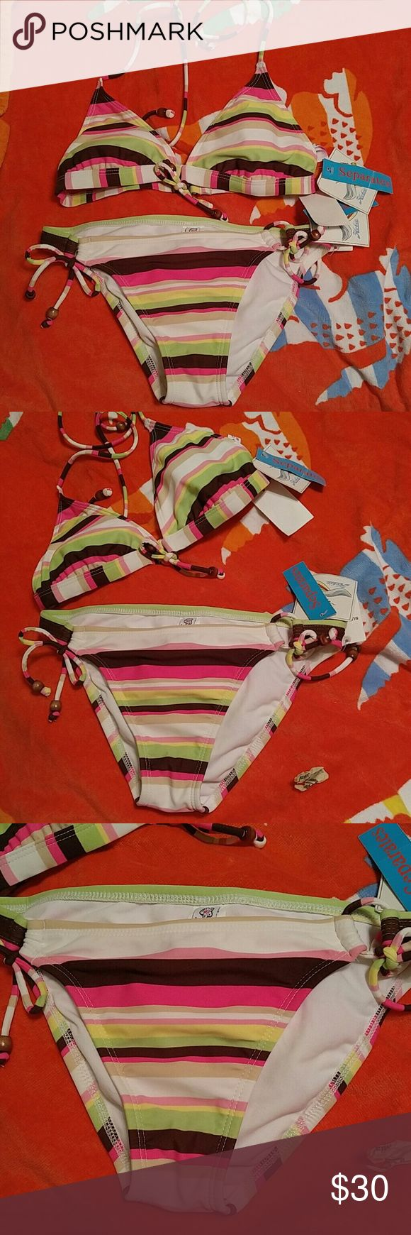 NWT Pink brown stripes 2pc swim bikini set M jrs Too cute & fun for the sun. Loop ties at breast & side ties. Removable pads. Each set is a little different due to cut of fabric so if I have multiples they may be different. Tags may show immediate markdowns. Items from Macy's prev seasons, returns & sales. Dust is free,  Bundle & save more. Hobie Swim Bikinis