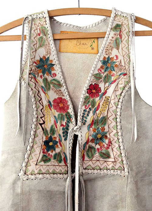 hand painted leather vest