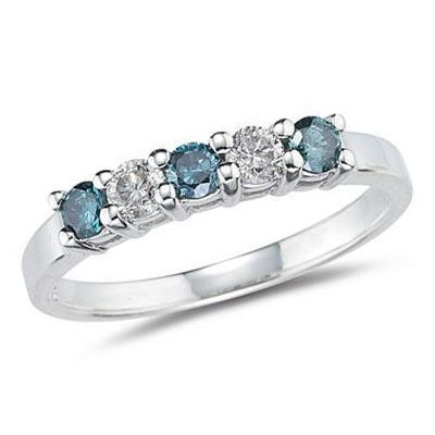 1/3 CT. T.W. Enhanced Fancy Blue and White Diamond Five Stone Band in 14K White Gold - Zales