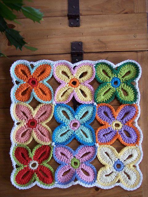 crochet flower mat.
