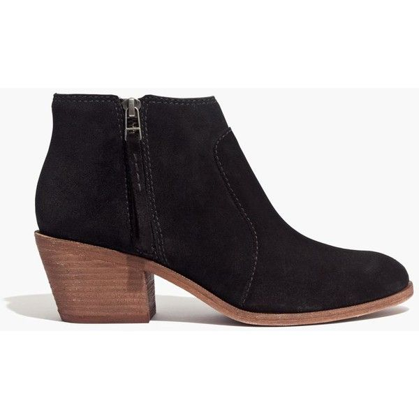 MADEWELL The Janice Boot in Suede ($218) ❤ liked on Polyvore featuring shoes, boots, mid-calf boots, true black, black zipper boots, bootie boots, suede ankle boots, zipper ankle boots and short black boots
