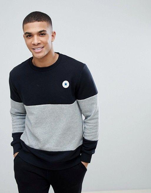 Converse Chuck Patch Crew Neck Sweatshirt In Black 10004630
