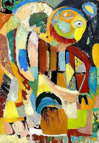 Ejler Bille: Composition with masks. Signed with pencil on the stretcher Ejler Bille 1945. Oil on canvas. 81 x 57 cm.