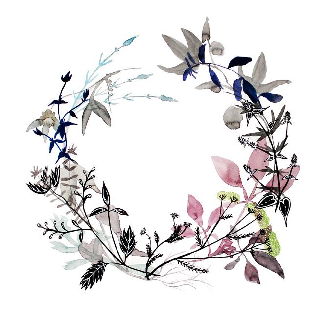 Healing Wreaths - katie vernon art + illustration. This one is stress. I wish the herbs were listed...