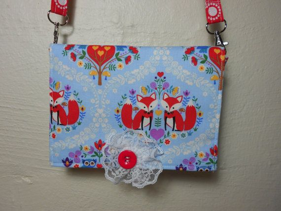 Little Red Foxes and Cute Owls Fabric Cell Phone Cross Body