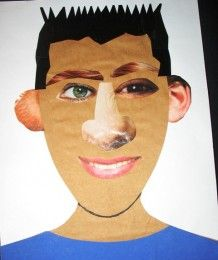 Kids Art Activity:  Self-portrait collage made with magazine clippings - elementary art