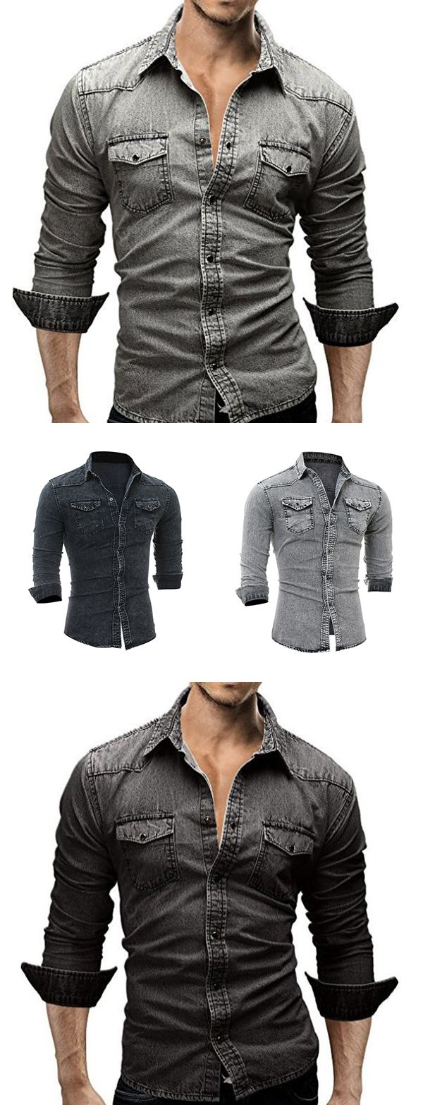US$24.92 (47% OFF) Casual Outfit:  Denim Shirt for Men http://www.99wtf.net/young-style/urban-style/mens-ideas-dress-casually-fashion-2016/