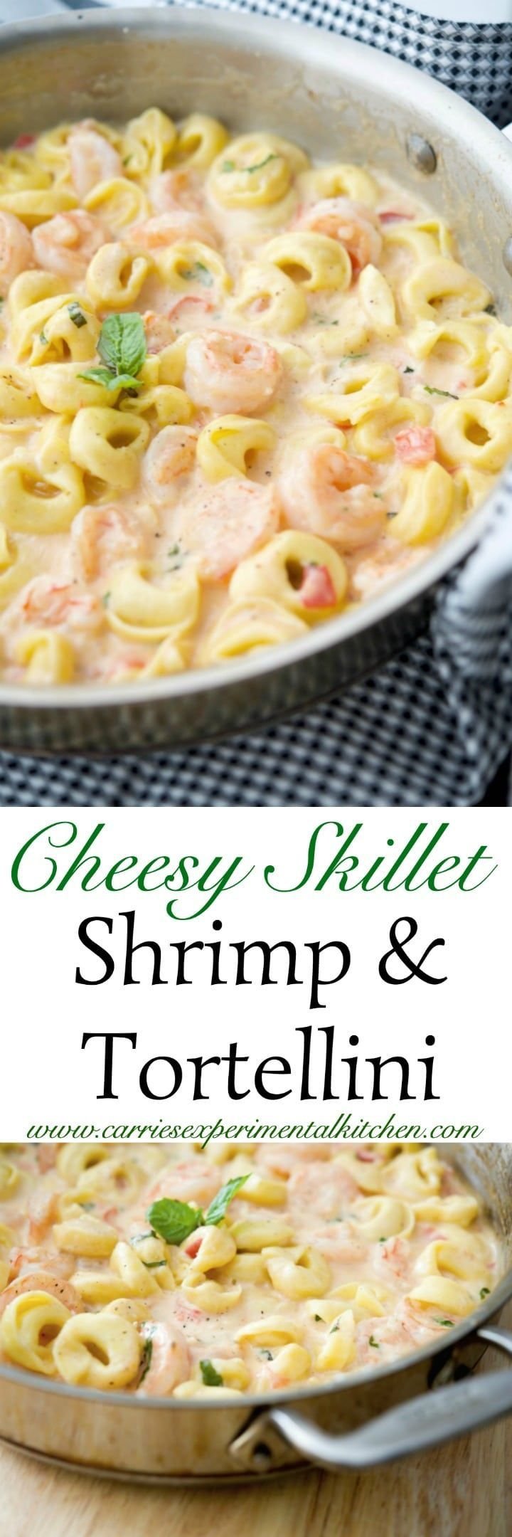 Cheesy Skillet Shrimp & Tortellini made with jumbo shrimp combined with cheese tortellini in a cheesy tomato basil Alfredo sauce.