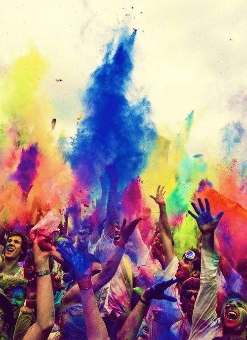 Color rave/party!!! Oh. My. Gosh. can we just....yes..please! paint party - holi -  colourful - powder paint celebrations - holi festival