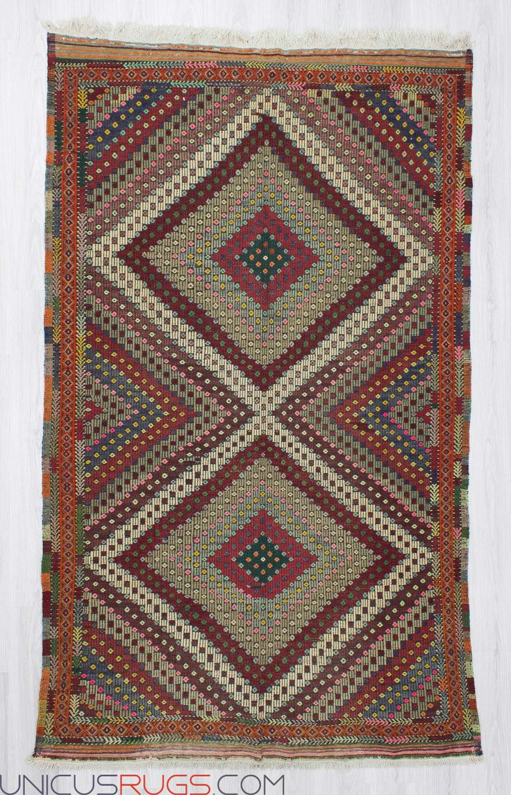 """Handwoven vintage embroidered kilim rug from Denizli region of Turkey. In good condition. Approximately 45-55 years old. Width: 5' 4"""" - Length: 8' 8"""" Embroidered Kilims"""