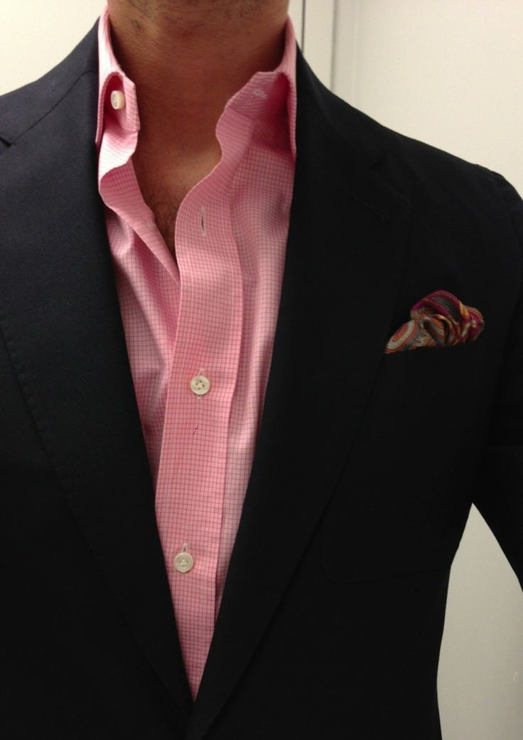 Pink check dress shirt always brings the color out with a dark blazer... And don't forget the pocket square!!