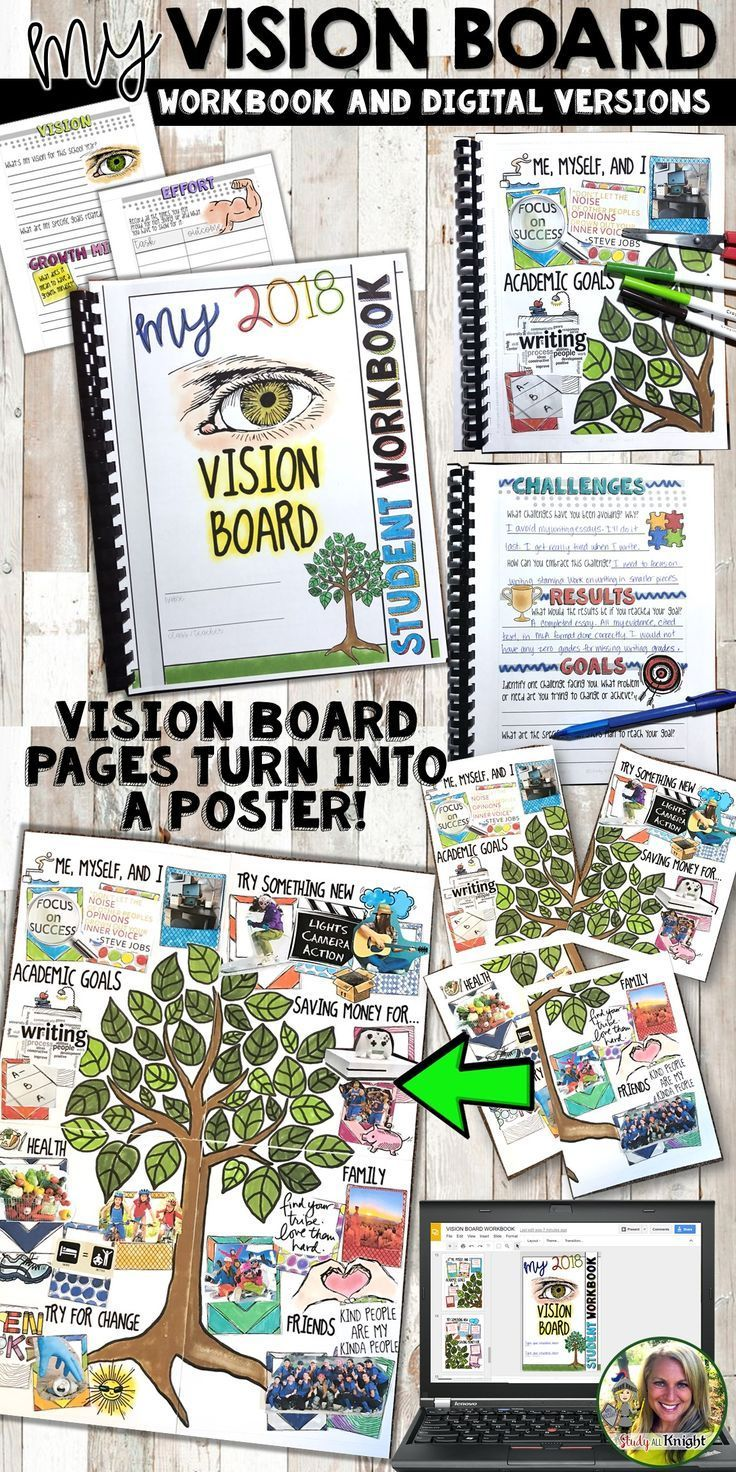 Middle school | Upper elementary | High School | All subjects | Growth mindset | Vision board | This Vision Board Student Workbook starts the new year with plenty of engagement and creativity! Teachers will love promoting a growth mindset in the new year, while completing the workbook pages. It gets exciting because the vision board workbook pages turn into a student poster! Your students will love their vision boards! Visual inspiration all year long.