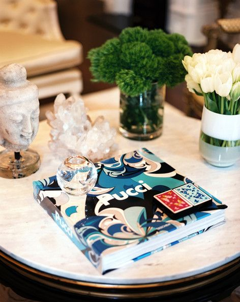 Tablescape Photo - Coffee table styling with flowers, books, and decorative accessories