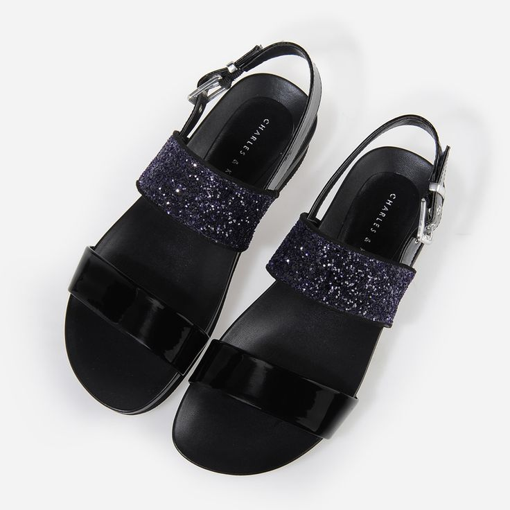 Glitter Strap Sandals - Purple - Flats - Shoes   CHARLES & KEITH