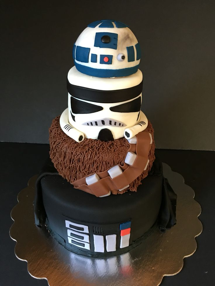 Star Wars cake. #fourthbirthday #thefourthwasstrong #tieredstarwarscake… Pretty sure I can make this! I'm gonna need to practice though...