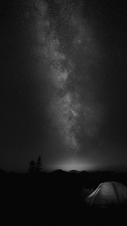 CAMPING NIGHT STAR GALAXY MILKY SKY DARK SPACE BW DARK WALLPAPER HD IPHONE