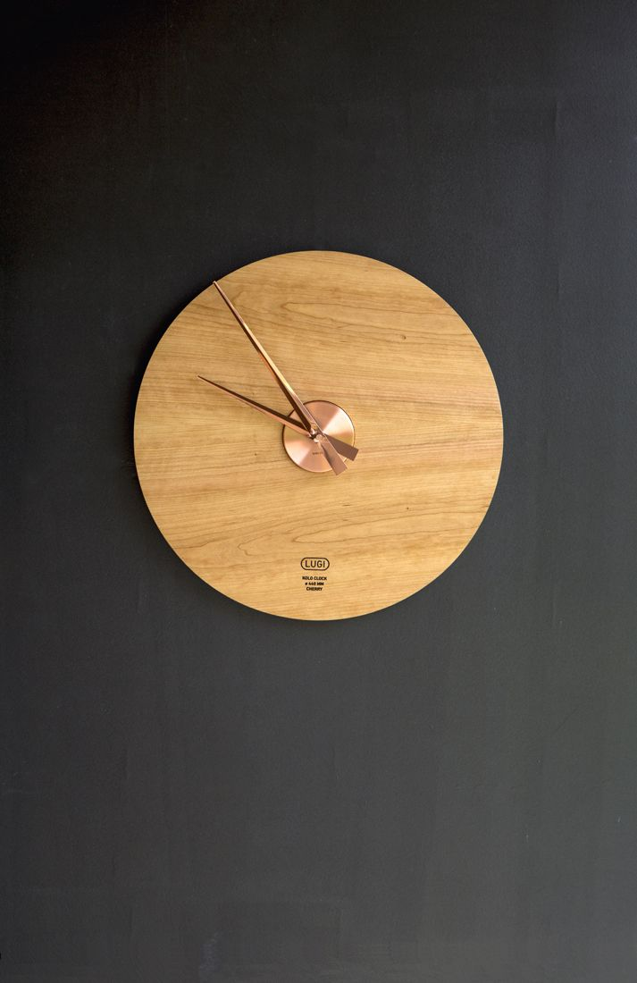 Kolo Clock 440 mm - Cherry & Copper Designed and produced by LUGI