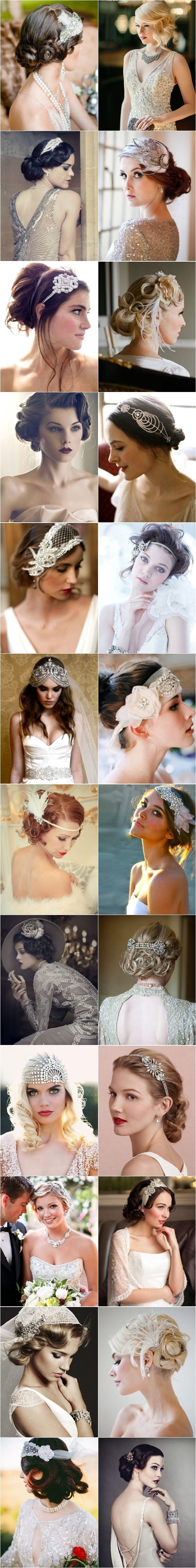 Wedding Philippines - 1920s Gatsby Glam Inspired Hairstyles Tons of ideas for our hair for your future Gatsby-themed wedding! Lol Kayla McCallister