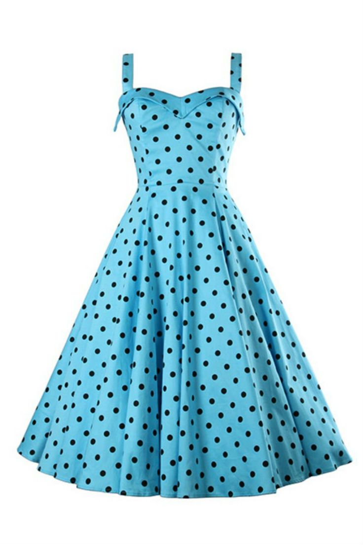 '50s Style Vintage Blue Dot Printed Dress