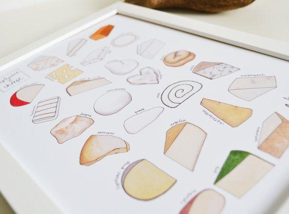 Cheese Alphabet Print - kitchen art - new updated design on Etsy, $28.38