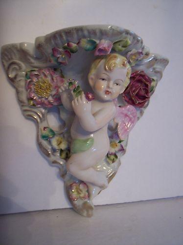 Vintage Occupied Japan Cherub Baby Angel Wall Bracket Shelf Majolica Quality | eBay