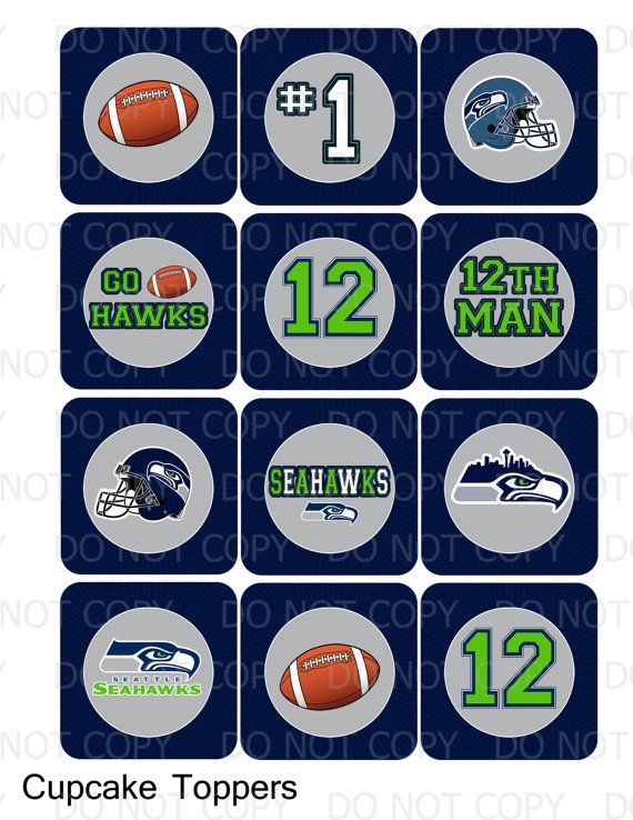 Seattle Seahawks Printable DIY Seattle Seahawks Theme Cupcake by onelovedesignsllc
