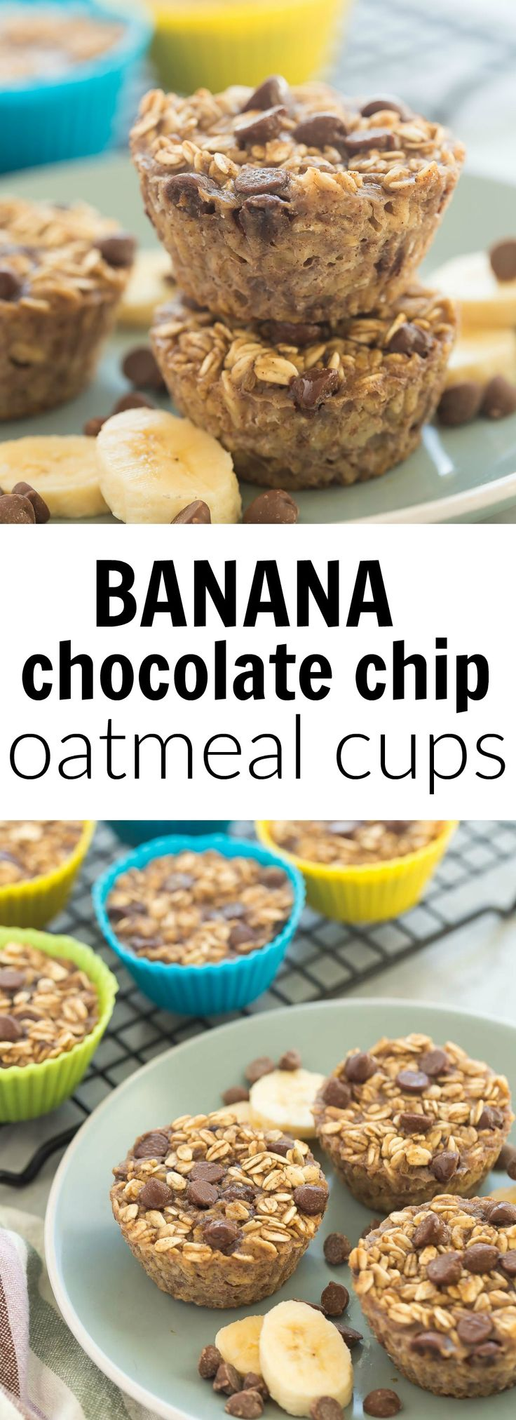 These Banana Chocolate Chip Baked Oatmeal Cups are an easy, healthy breakfast (yes, you can swap the chocolate for blueberries if you want!) that is make ahead, freezer friendly, and packed with protein and fiber. Includes how to recipe video.   breakfast recipe   brunch   healthy recipe   low calorie   oatmeal muffin   oats  