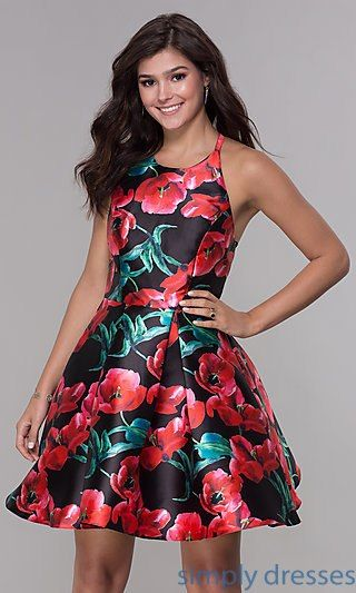 bd26f9a359 Short Open-Back Homecoming Dress with Floral Print in 2019 | Doret ...