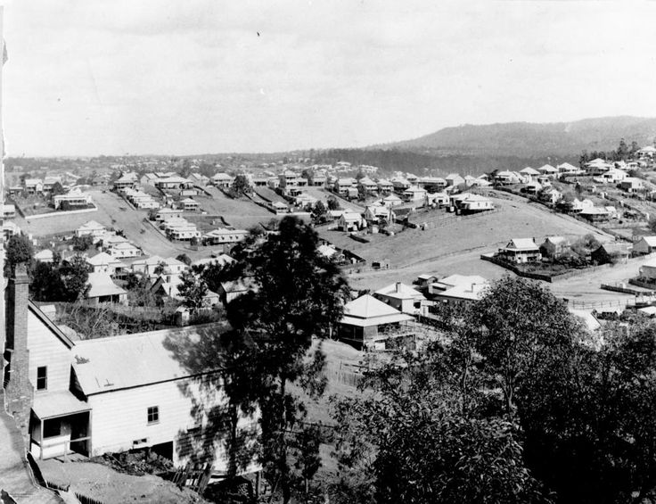 Houses of Paddington, Brisbane, ca. 1902. View of the houses of Paddington from Red Hill, looking towards the intersection of Given and Latrobe Terraces. The hilly terrain of the area is featured in this image.