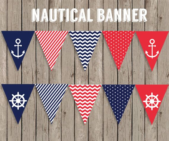 Nautical Banner  Printable Nautical Birthday Party by CiriArt