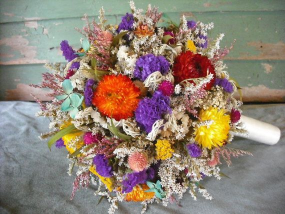 Large dried flower Bride's bouquet with Birch holder. Made in vibrant colors of all natural flowers.