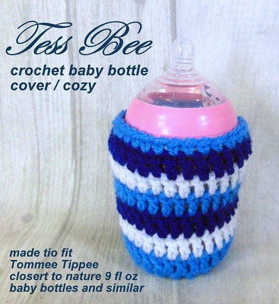 CROCHET BABY BOTTLE COVER HANDMADE Tommee Tippe 9oz and 5oz PERSONALIZED