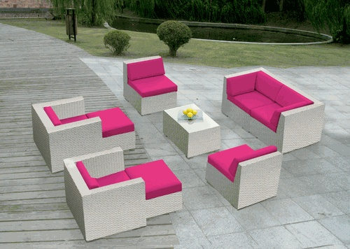 Great White On Pink! Beautiful Ohana Outdoor Patio Wicker Furniture Deep Seating  Couch Set. Customize