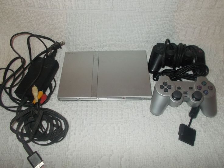 Sony PlayStation 2 PS2 Slim Silver Console Complete Tested Works   #Sony