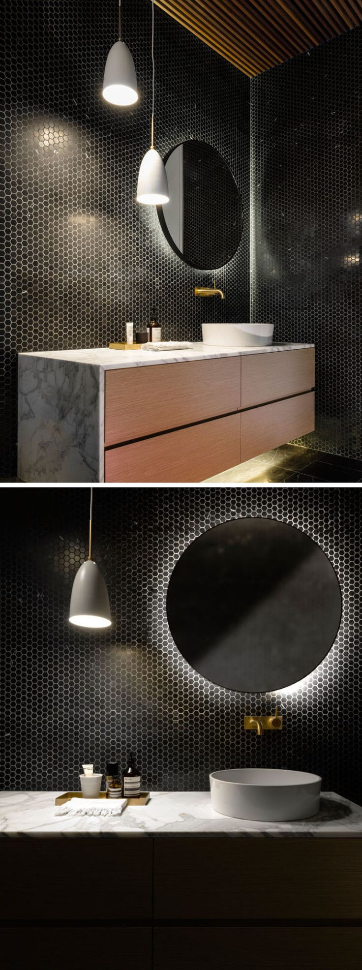 Contemporary condo bath modern bathroom chicago by jill jordan - This Bathroom Has Its Walls Covered In Tiny Black Hexagonal Tiles And The Vanity And
