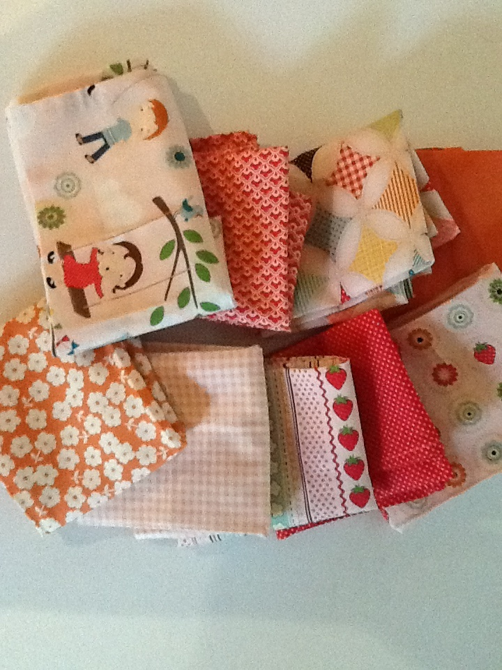 """dinner napkins made from a bundle of quilting fabric pieces - I think they are called """"fat 1/8s"""". I love that they coordinate but don't match."""