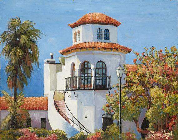 Santa Barbara Airport Giclee Print beveled double by LynnFogel, $18.00