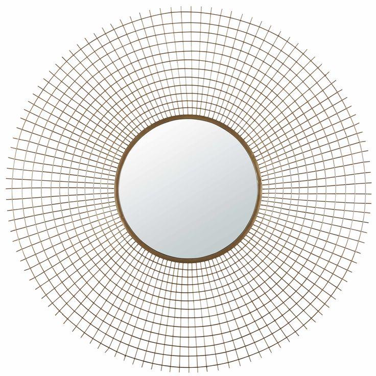 Round antique gold metal mirror D 100 cm SQUARE EFFECT