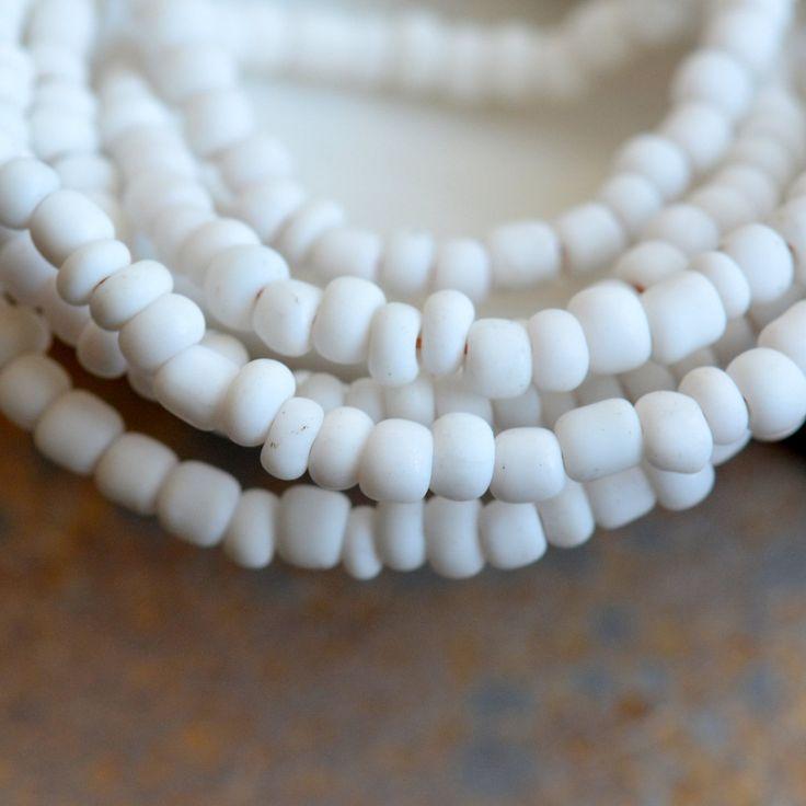 "White Indonesian Lamp Work Glass Seed Beads, Small Tube Spacer Beads, White Glass Beads, Handmade Beads, Ethnic Beads, 44"" Strand, BB170127E"