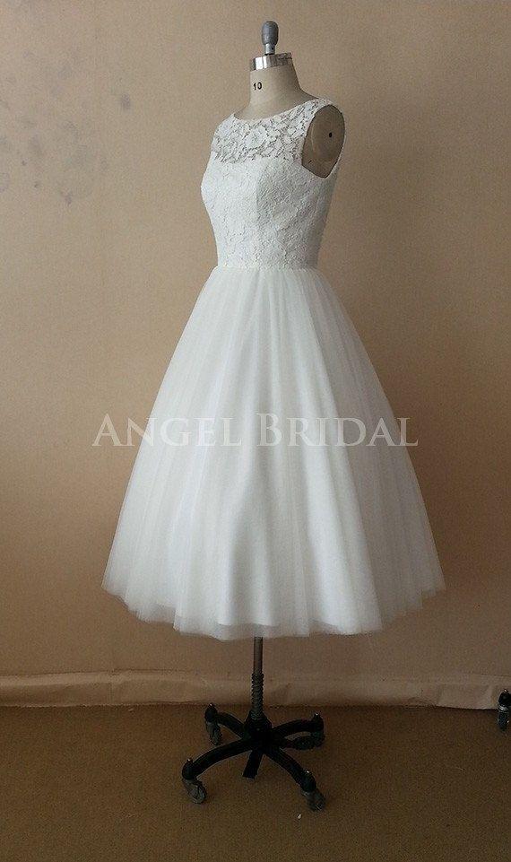 A-Line Tea Length  Ivory  Applique  Lace wedding dresses, Wedding Dress,Wedding Gown,Wedding Gowns on Etsy, $209.00