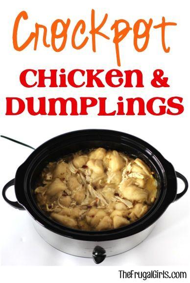 Crockpot Chicken and Dumpling Recipe from TheFrugalGirls com