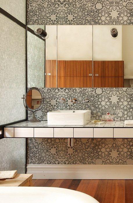 17 meilleures id es propos de salle de bains papier - Papier peint 4 murs salle de bain ...