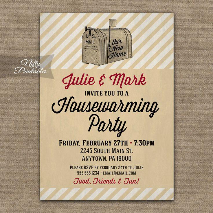 housewarming invitations printable vintage house warming. Black Bedroom Furniture Sets. Home Design Ideas
