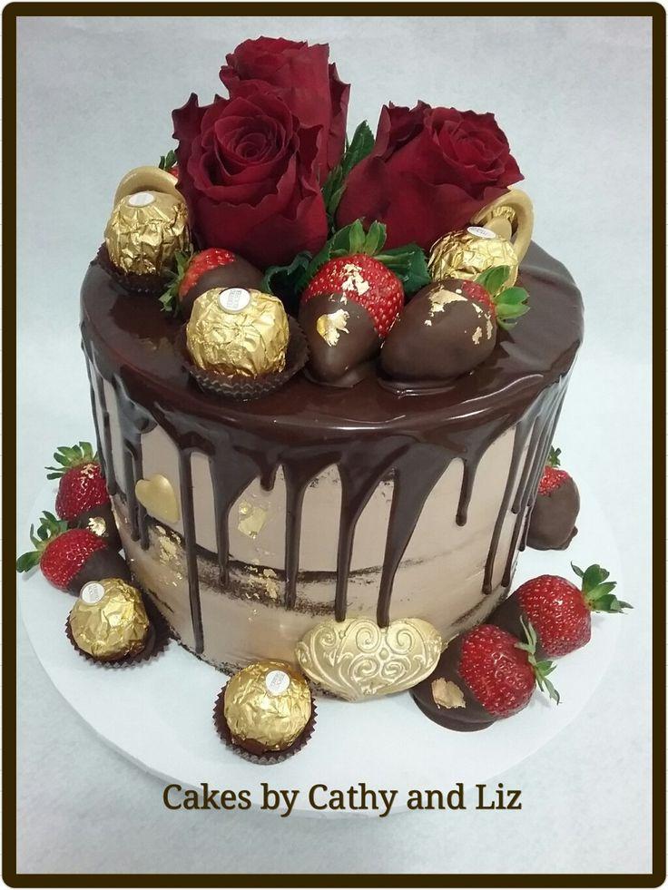 Chocolate and ferreros drip cake